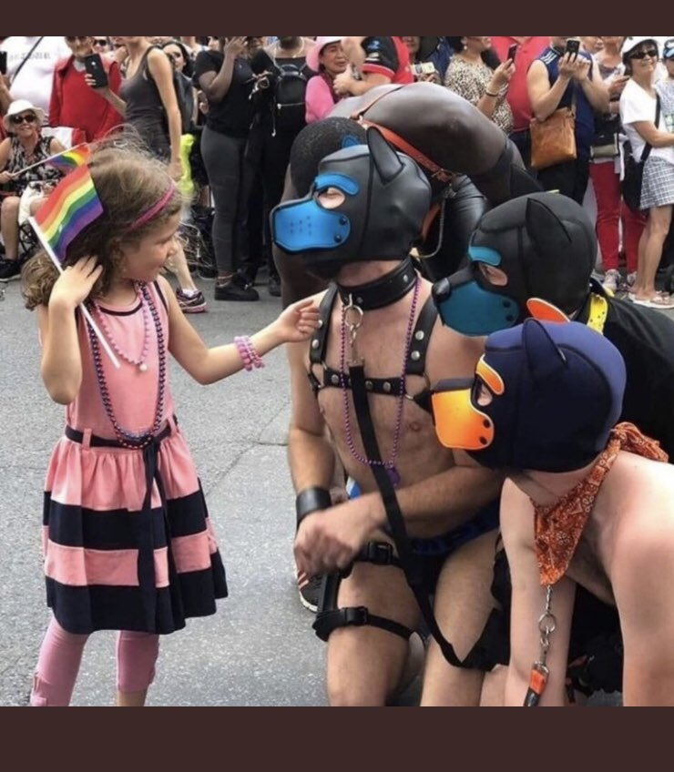 This photo was taken at the Montreal Pride Parade. It is a fetish and kids should not be anywhere near this!!It's gone too far. Wake up Canada! #protectourchildren <br>http://pic.twitter.com/3H0ivmAVwo