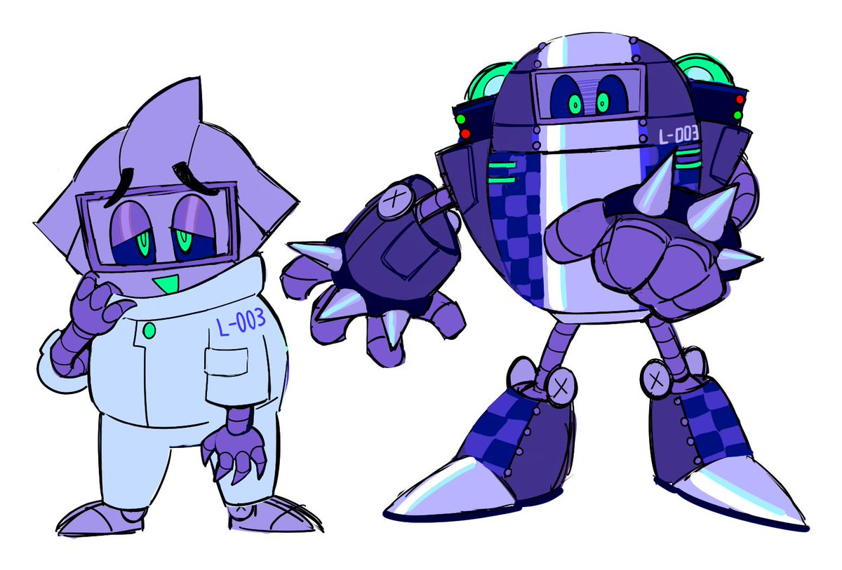 here's a better look at the design. his name is L-003!! (left is how he looks without the mech) <br>http://pic.twitter.com/UwsC3oxU2q