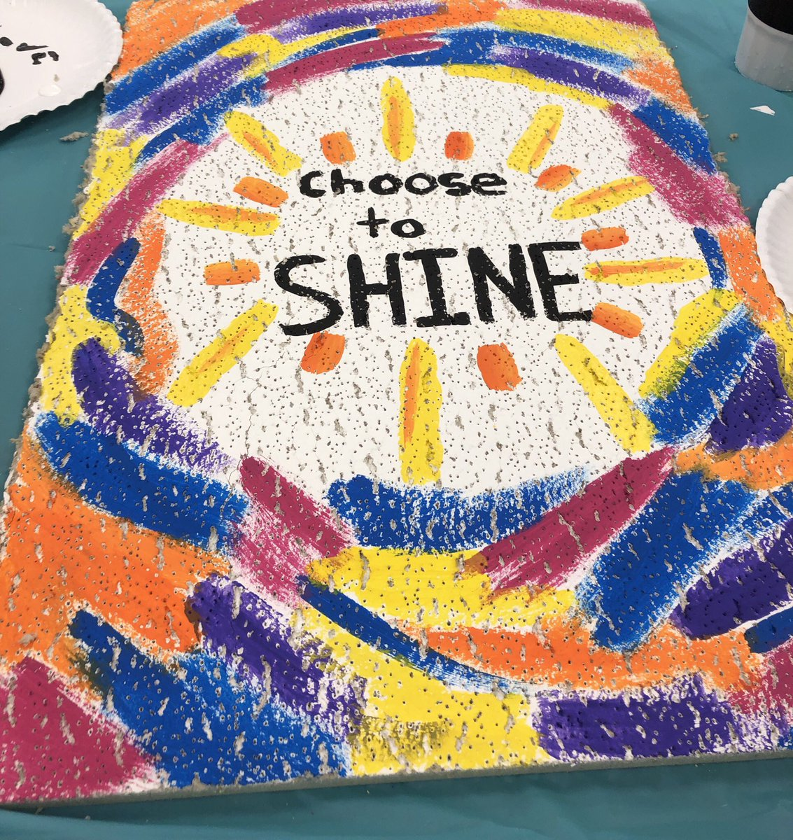 Had fun painting inspirational ceiling tiles today! Choose to SHINE! #helotesbulldogs<br>http://pic.twitter.com/aAHs35E6Vk