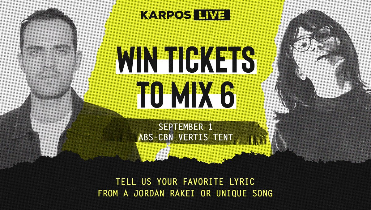 want to win FREE TICKETS to see @jordanrakei + @uniquesalongaph at #karposlive mix 6?  1. follow karpos live on facebook, twitter, instagram, and spotify 2. tell us your favorite lyric from a jordan rakei or unique song 3. winners will be contacted via dm on august 28 <br>http://pic.twitter.com/06zWbkmRZP