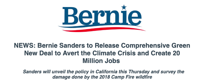 NEWS  Bernie is set to release his ground breaking Green New Deal  policy this Thursday in California <br>http://pic.twitter.com/pPcJ7FuhLV