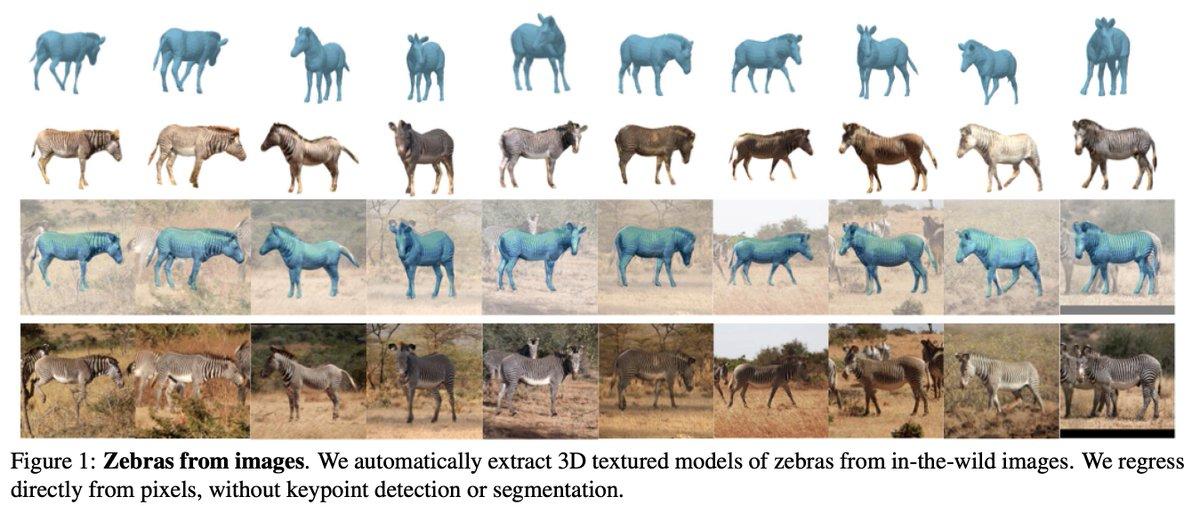 Neural renderer 使用論文第13弾、シマウマのような学習データが限られる3D物体について、1枚の画像から形状・テクスチャ・姿勢を推定するモデルを合成データを用いて学習する方法を提案。実画像でかなり正確に3D再構成できている。 (ICCV 2019)