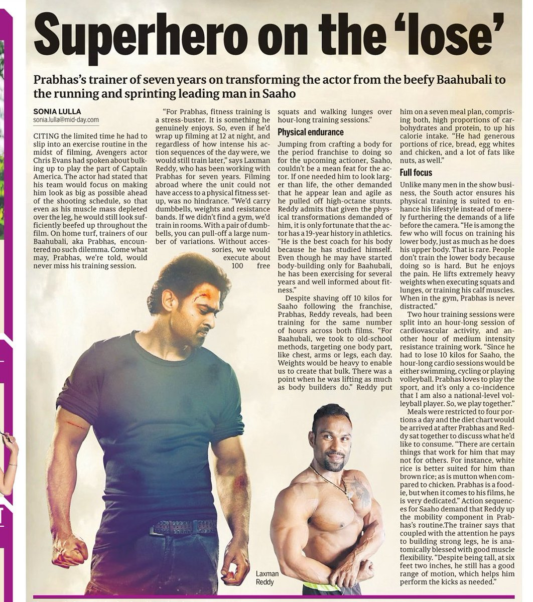 """#Prabhas in gym is never distracted. Even after 12 AM shoot he is there. He is best coach of himself he studied him well. Guys do upper part body fitness he do lower too. Its painful. He might have lifted weights equivalent to body bulider  Despite 62"""" his motion isnt restricted <br>http://pic.twitter.com/RA5oFMzBJg"""