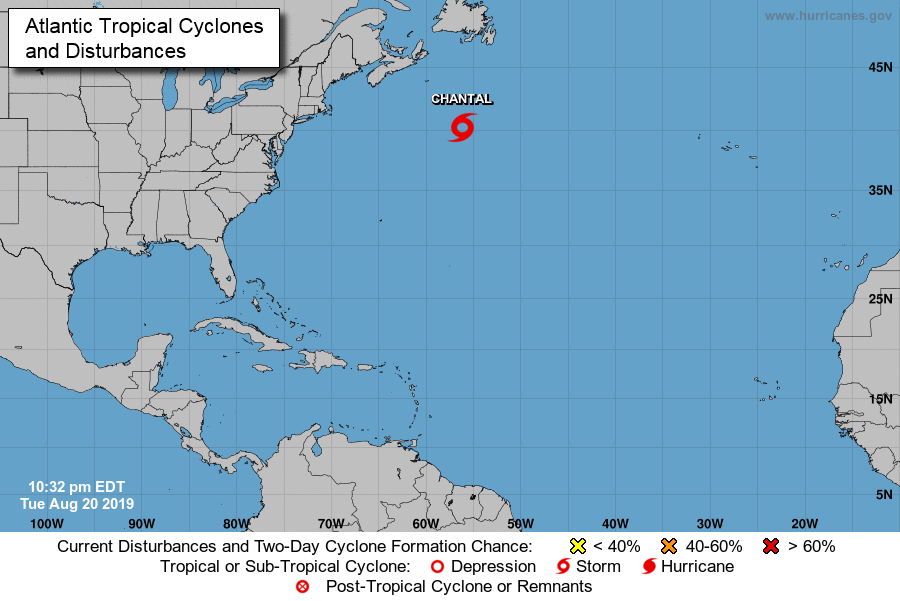 Tropical Storm #Chantal has formed at a latitude of 40.2ºN. Pending on post-season reanalysis, this would make Chantal the 6th tropical cyclone in modern record (1950-2019) to first reach TS strength N of 40ºN, most recent being an unnamed storm in '06. Record is 42.0º in '52. <br>http://pic.twitter.com/VrpIhEjLyK