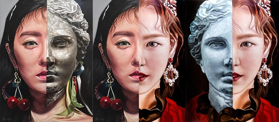 """Stitched Version. 2017 and 2019 """"Prime"""" and """"A Poem Titled You"""" Joohyun and Seungwan of @RVsmtown  Cold and Warmth The Summer to her Winter The Winter to her Summer  #wenrene #redvelvet #irene #wendy #fanart #artph #oilpainting #UmpahUmpahDay   Sizes: 4x3 ft Medium: Oil on Canvas <br>http://pic.twitter.com/Nr50XVDIMl"""