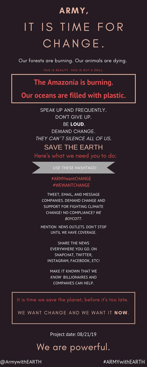 They can't silence us all. It's time for change. #ARMYwantCHANGE #WEWANTCHANGE<br>http://pic.twitter.com/A3UNDPBQSX