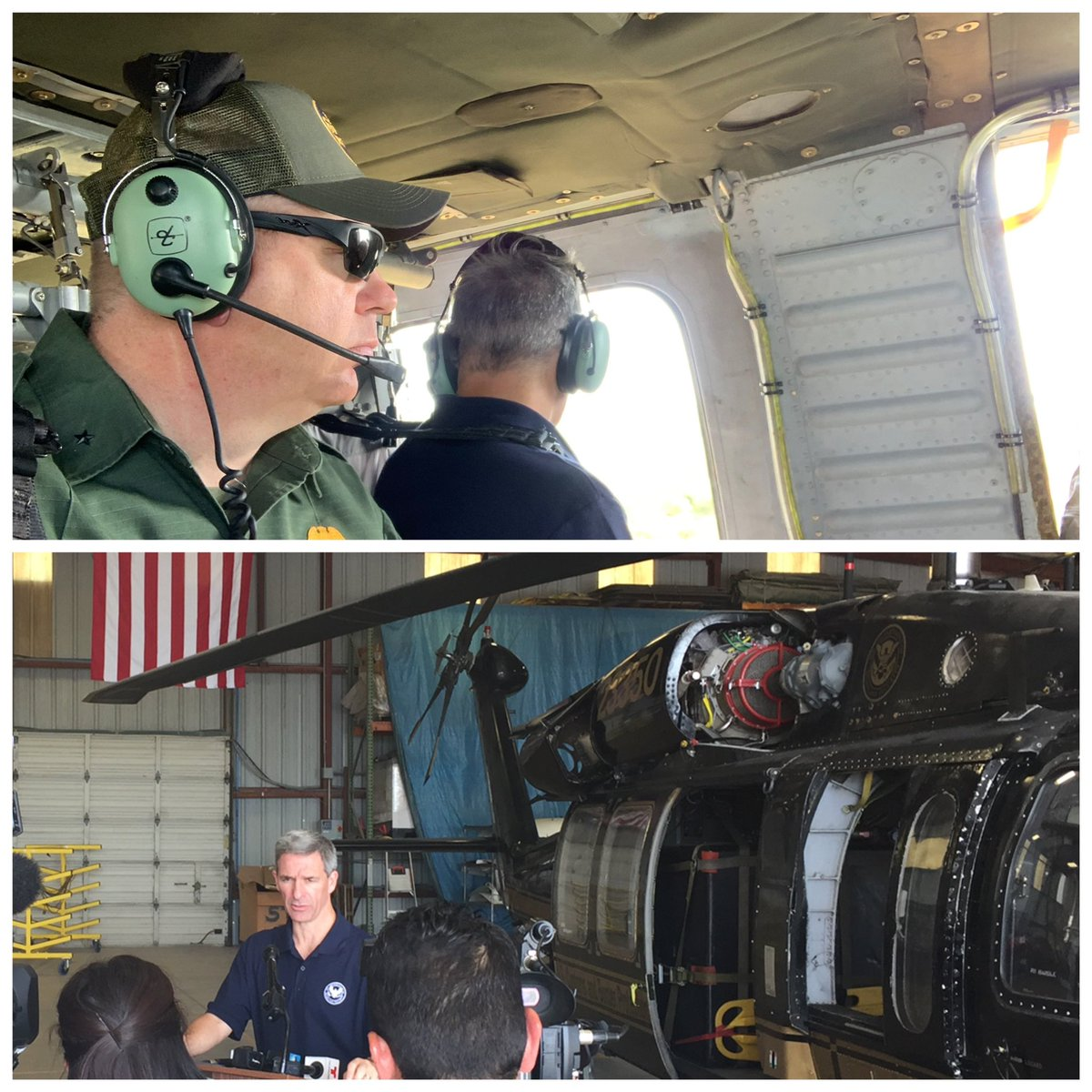 Today, Acting Citizenship and Immigration Services Director Kenneth Cuccinelli joined me for an operational flight over the #RGV border area. He then took some questions from local media.  Big thanks to our outstanding #CBP #AMO personnel here in the Valley.<br>http://pic.twitter.com/XqKJTsLsqh