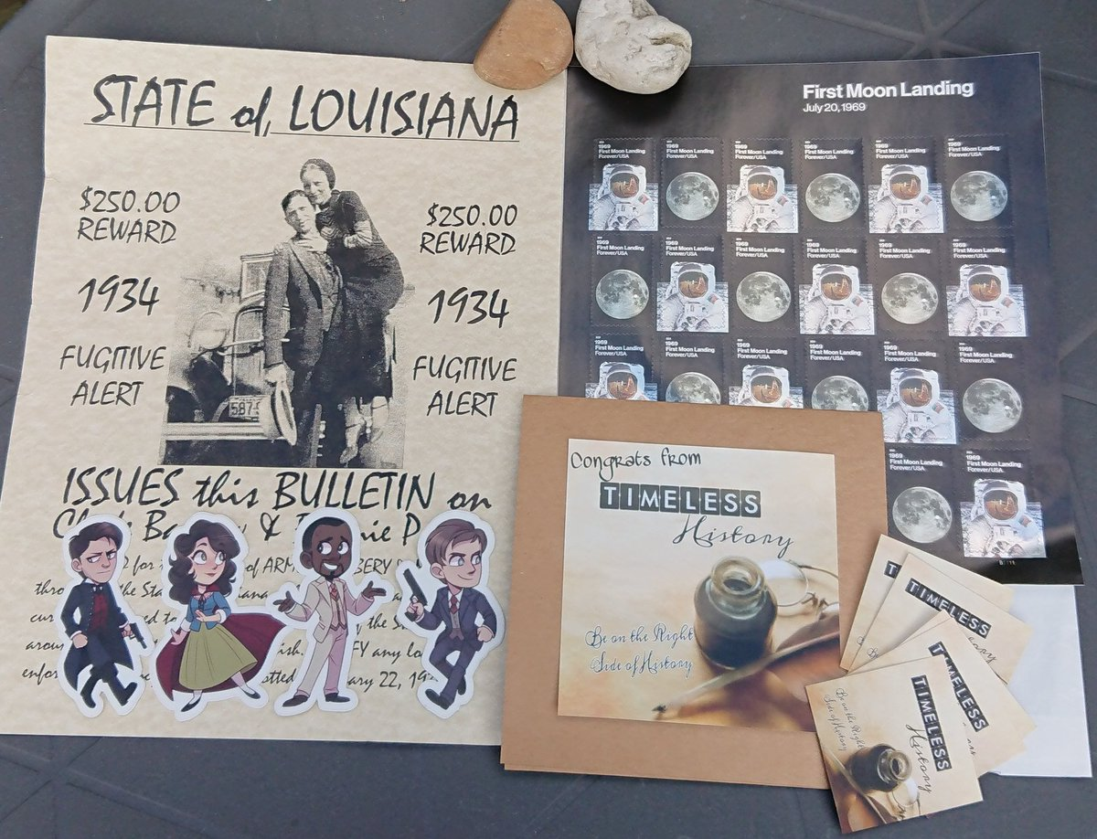 Look what arrived in the mail today! The beautiful first moon landing stamps and other fun stuff I was gifted after the SDCC #Timeless flight. All from @Timeless_Hist and  @timeless_bunker! Thank you!   #SaveTimeless <br>http://pic.twitter.com/ClZWIPUH98