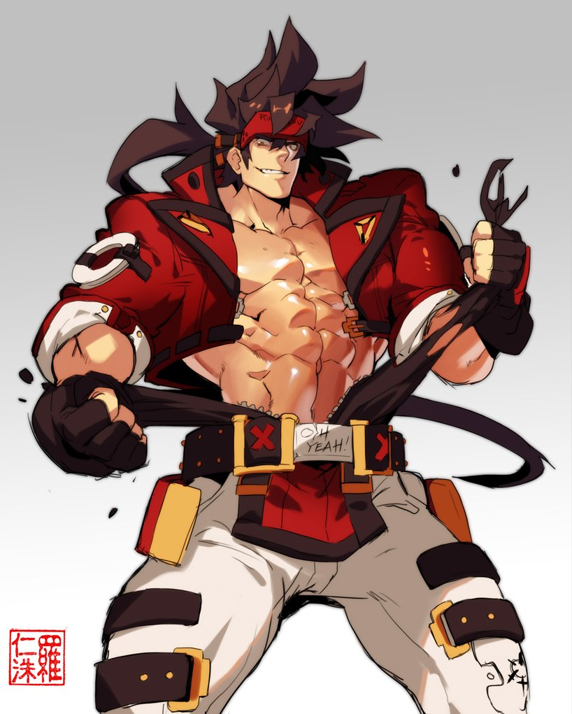 Thanks for coming to today's stream despite the crazy thirst lol! Sol Badguy ripping apart his shirt<br>http://pic.twitter.com/ar0elYAplR