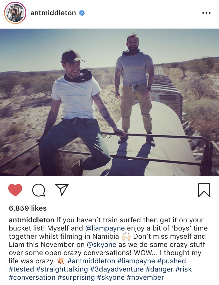 #IG | antmiddleton:If you haven't train surfed then get it on your bucket list! Myself and @liampayne enjoy a bit of 'boys' time together whilst filming in Namibia  Don't miss myself and Liam this November on @skyone as we do some crazy stuff over some open crazy conversations<br>http://pic.twitter.com/fiq9b4S4k8