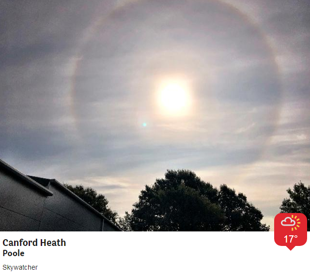 Sun halo and a hole punch cloud sent in by @BBCWthrWatchers within minutes of each other...a real weather phenomena treat this morning.