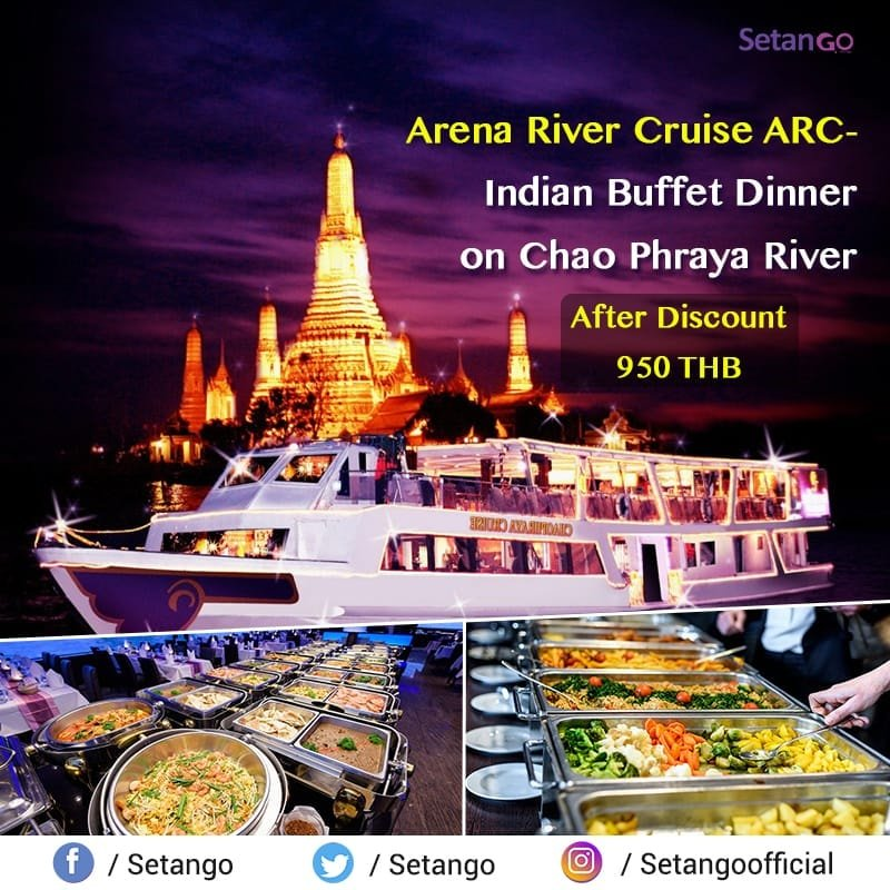 Enjoy delicious Indian Buffet Dinner on Arena River Cruise in Chao Phraya River at Bangkok Thailand, Only 950 THB...  #amezingthailand #cruise #travel #bangkok