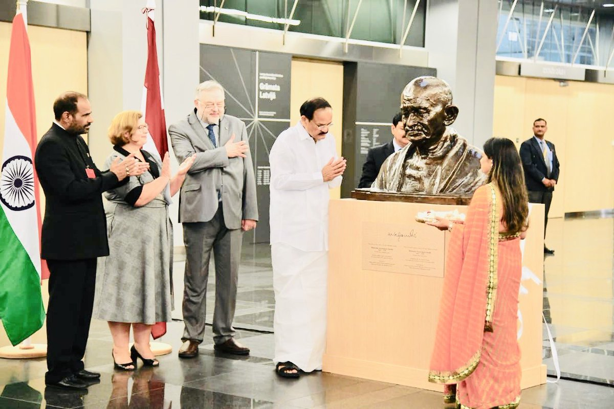 This year,we celebrate the 150th Birth Anniversary of #MahatmaGandhi.   With Hon'ble VP Of India Sh. @MVenkaiahNaidu at Latvia's prestigious National Library, which is also called the Castle of Light. #library #Latvia<br>http://pic.twitter.com/A6beR3DFOh