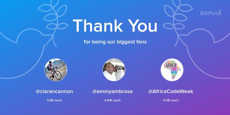 Our biggest fans this week: ciarancannon, ammyambrose, AfricaCodeWeek. Thank you! via sumall.com/thankyou?utm_s…