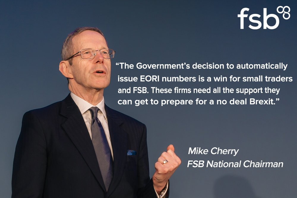Automatically issuing EORI numbers to all VAT-registered small firms that trade exclusively with the EU is a vital intervention in preparing small traders for a no deal Brexit - @MikeCherryFSB on todays Government announcement: bit.ly/2NjXe8Z