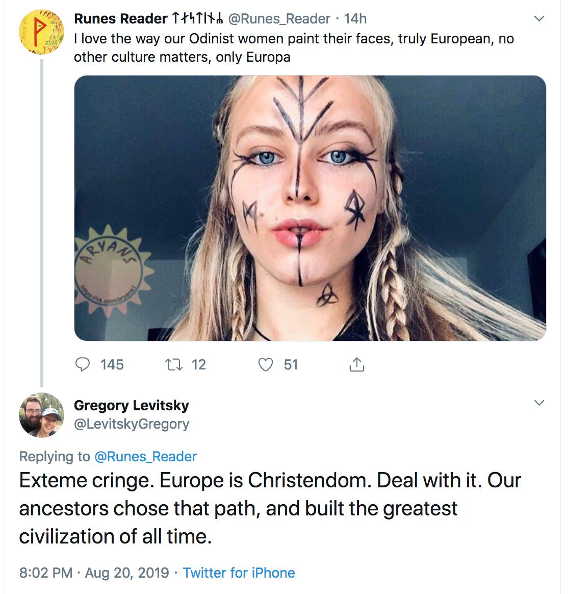 uh-oh, the pagan white supremacists and the Christian white supremacists are feuding. *gets popcorn*