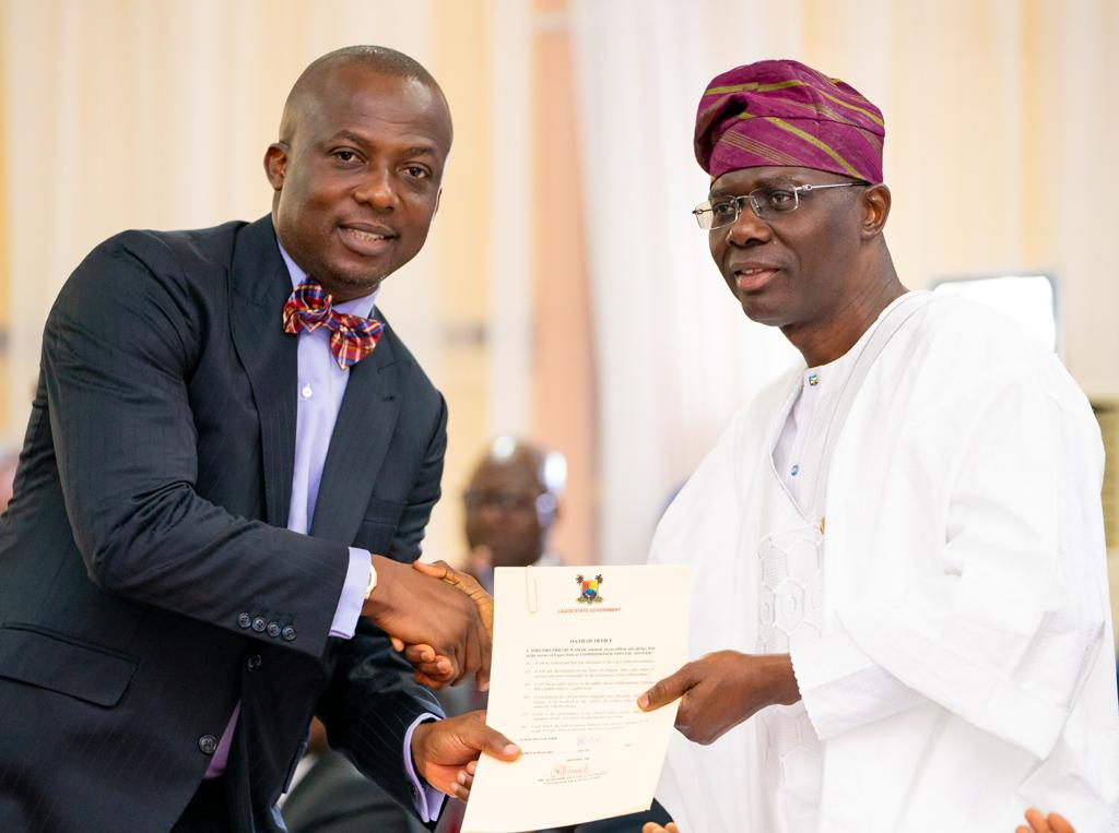 Congratulations to the commissioners and special advisers sworn in yesterday by H.E @jidesanwoolu. As co-labourers in building the #ForAGreaterLagos vision, I welcome and charge you to be diligent in service and be committed to your role in improving the lives of Lagosians. <br>http://pic.twitter.com/s0UzKzvo57
