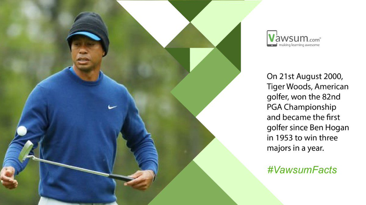 On 21st August 2000, Tiger Woods, American golfer, won the 82nd PGA Championship and became the first golfer since Ben Hogan in 1953 to win three majors in a year.  To know more such interesting facts, keep following us at  https://t.co/g7CyFLQT3O  Website https://t.co/BL93nHGNEG https://t.co/oTrOiZIwYj