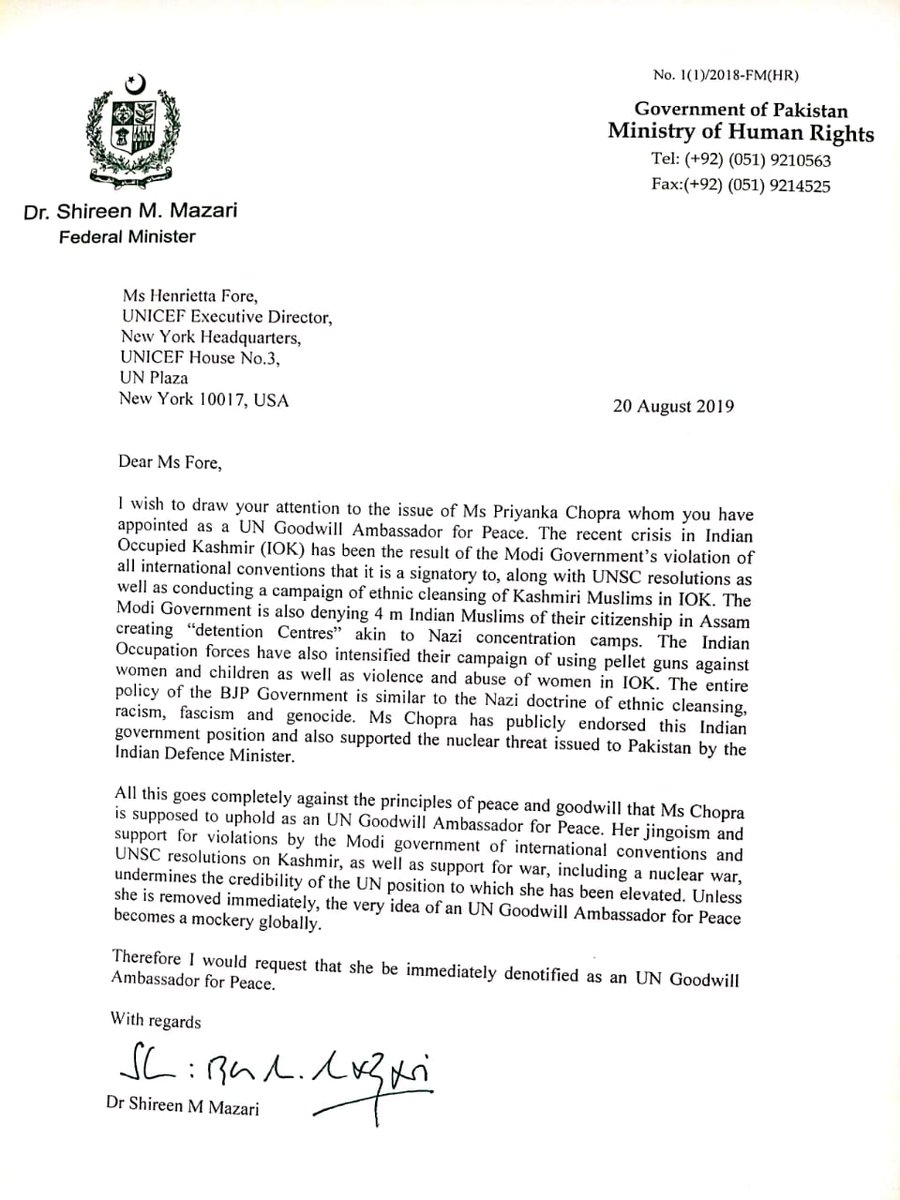 Shireen Mazari On Twitter Sent Letter To Unicef Chief