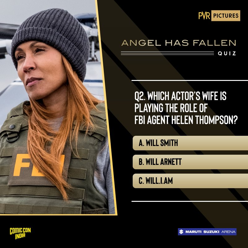 This badass actress is the wife of another badass actor! Guess who for the #ComicConXAngelHasFallen contest, and you could win couple passes for #AngelHasFallen!  @PicturesPVR @angelhasfallen   Contest Valid for Hyderabad, Bengaluru, Delhi & Mumbai only. TnC Apply. <br>http://pic.twitter.com/qrlobPqID2