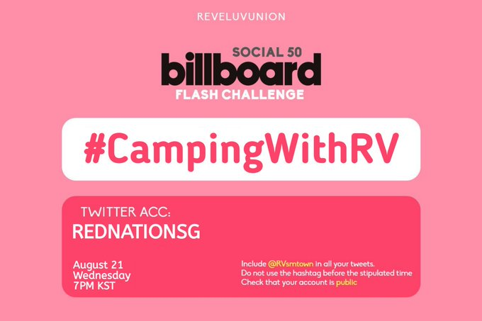 Tonight's hashtag! Please use the hashtag only at 7PM KST. The flash challenges will be hosted by @REDNATIONSG  Join us and have fun!  #RedVelvet @RVsmtown<br>http://pic.twitter.com/MbXHSBfYXL