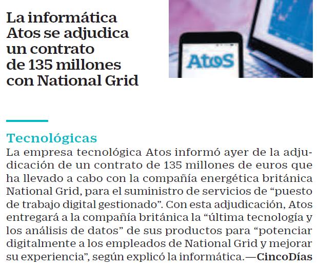 Atos se adjudica un contrato de 135 millones con National Grid para servicios de...