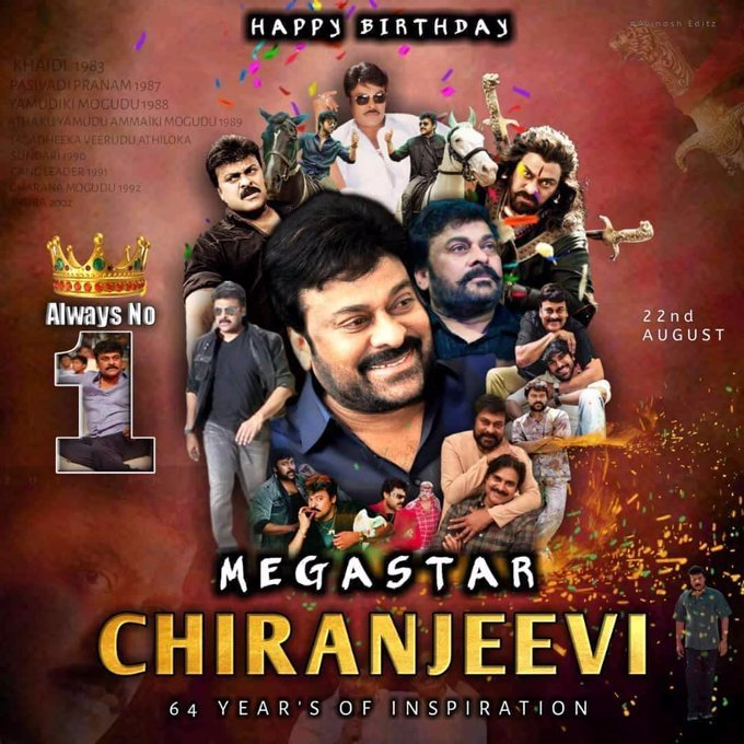 Undisputed King of Telugu Cinema  Role model and Inspiration for current and upcoming generations  One and Only Megastar of Indian Cinema.   #MegastarChiranjeevi #HBDEvergreenMegaStar <br>http://pic.twitter.com/cCulK92nTT