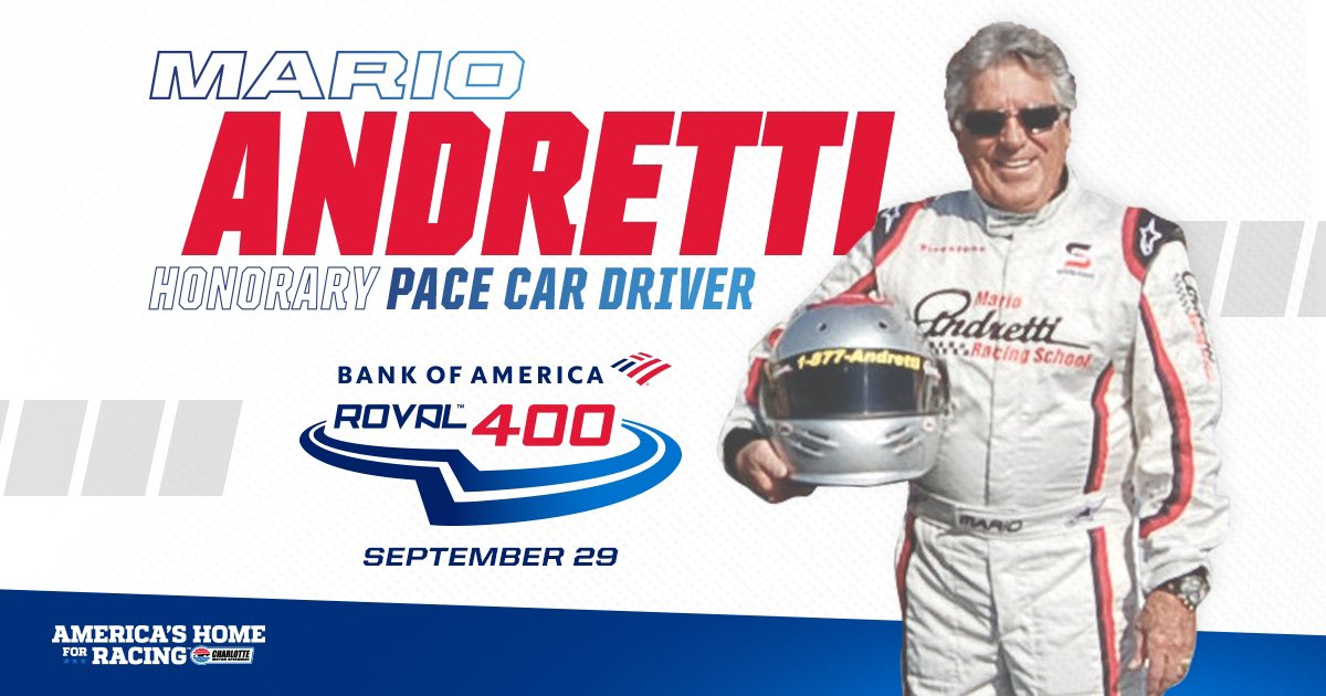 NEWS   Legendary racer @MarioAndretti named honorary pace car driver for @BankofAmerica ROVAL™️ 400! 📰: bit.ly/31SpZ0x #BofAROVAL   #AmericasHomeForRacing