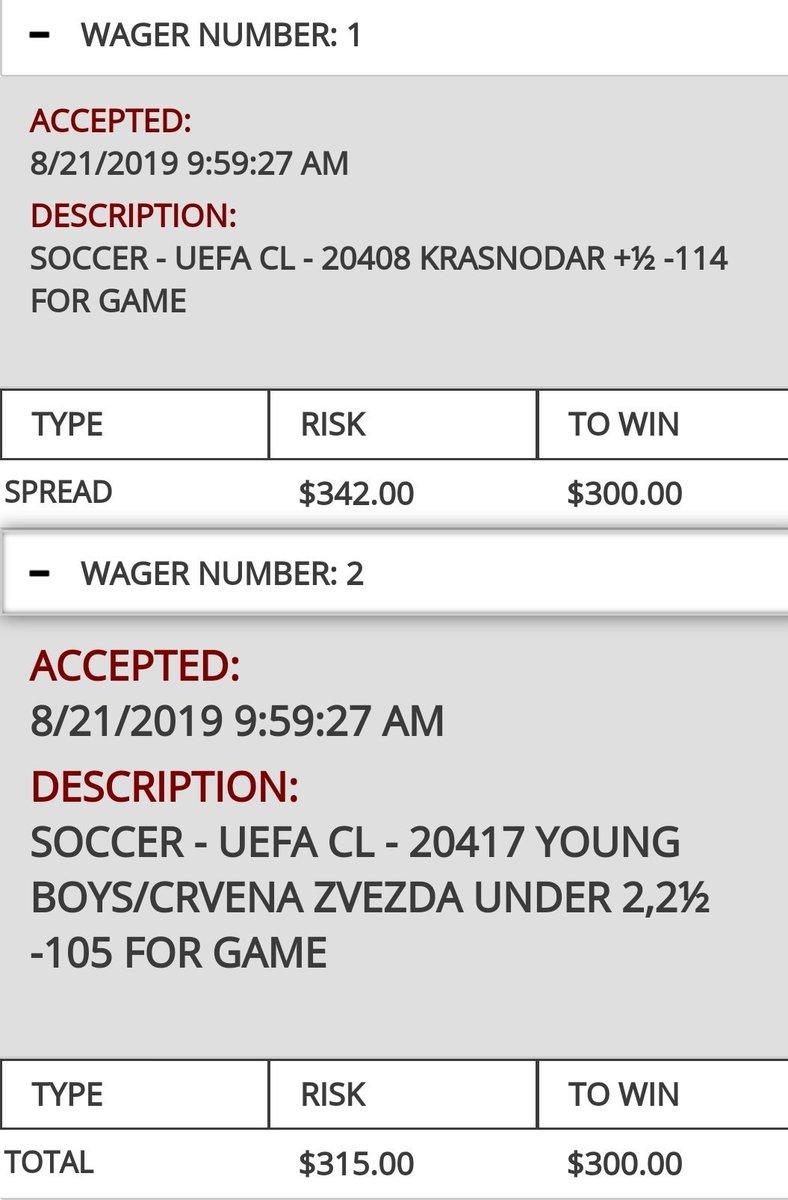 Wed Aug 21  UEFA Champions League Qualifiers:  Krasnodar +0.5 -114 Young Boys UNDER 2.25 -105 <br>http://pic.twitter.com/6f0F5C6qO4