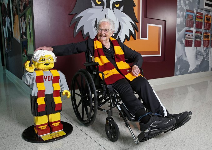 You know it's a special birthday when @LEGO_Group honors you with a 10,000 brick statue!  Happy 100th, #SisterJean! �