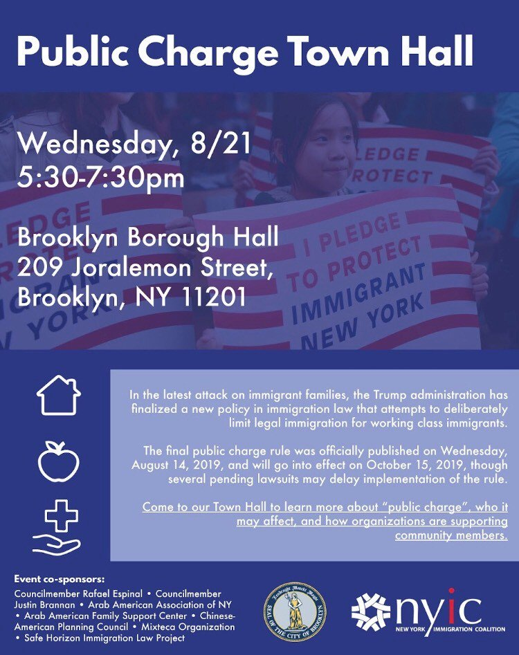 President Trump's public charge rule is an attack on low-income immigrants that could strip millions of people and their families of critical support. Come to the Public Charge Town Hall to learn about how this rule will affect your community. RSVP here: hubs.ly/H0kn4jx0