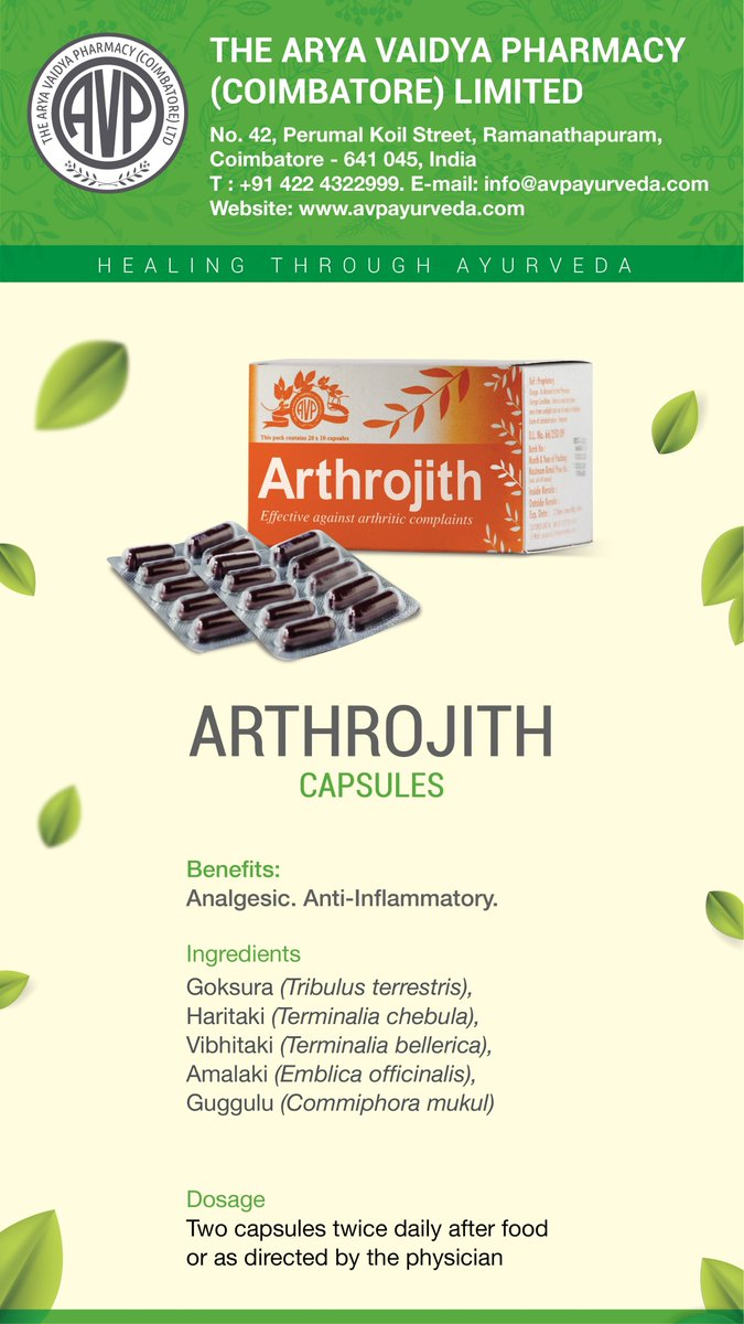 ARTHROJITH from AVP Ayurveda. #Anti-Inflammatory #Analgesic #Diuretic Ingredients: Gokusura, Haritaki, Vibhitaki, Amalaki, Guggulu shop.avpayurveda.com/default/arthro… #avpayurveda #avpayurvedaforhealth #avpayurvedaforlife #ayurvedicmedicine #ayurveda