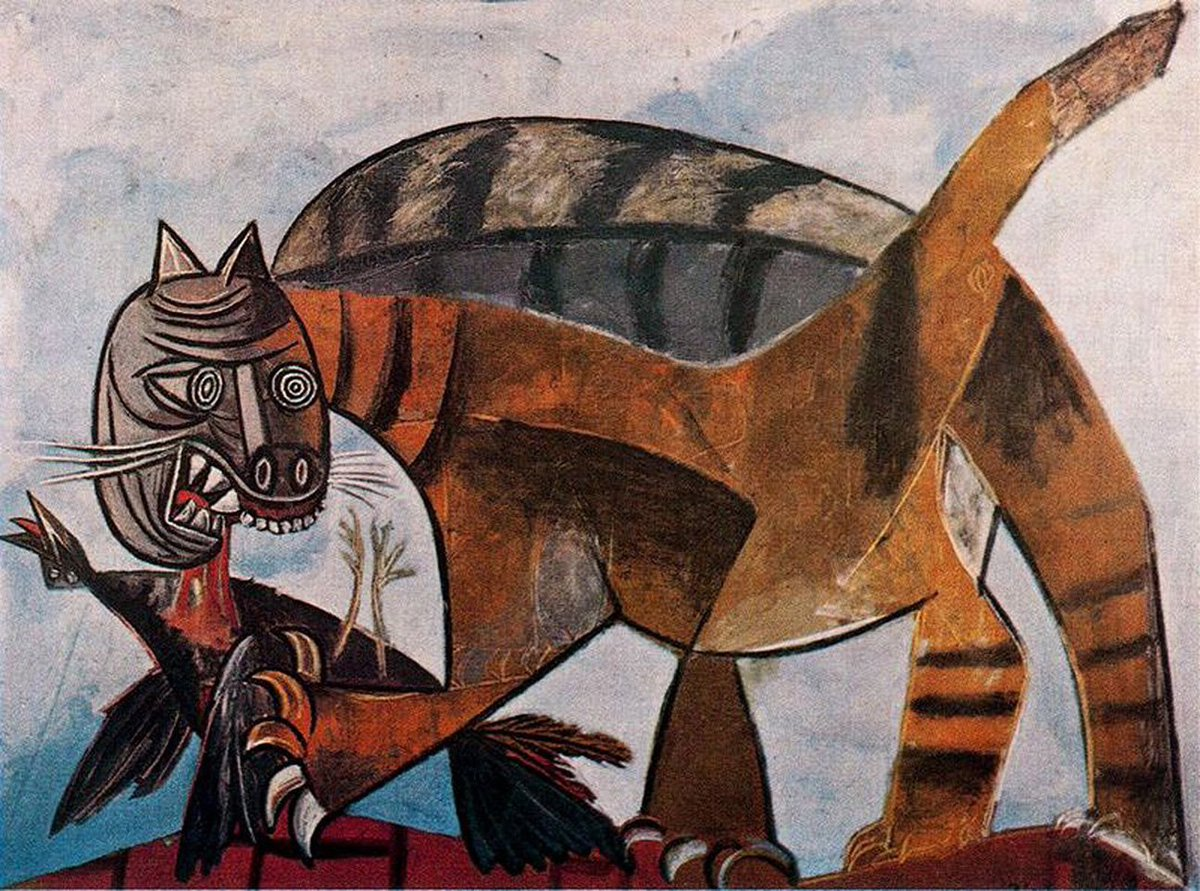 Cat eating a bird, 1939 Picasso <br>http://pic.twitter.com/Gzp7hTq7X1