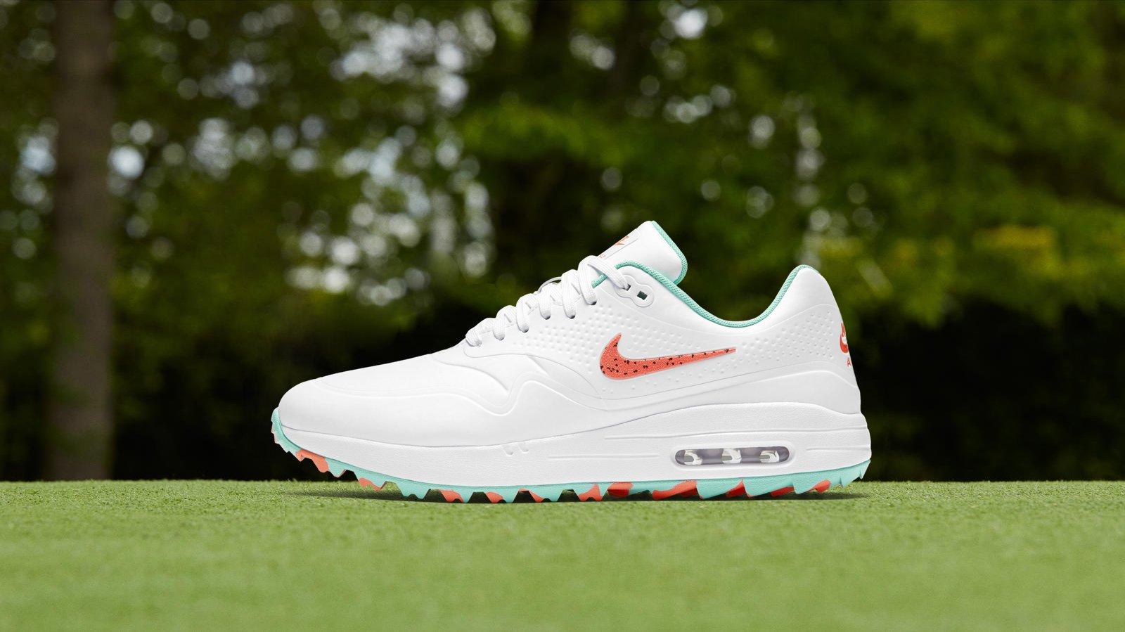 Golfposer On Twitter Restock Alert Nikegolf Air Max 1 G In White Hot Punch Aurora Green Shop Https T Co Waknvyw9w9