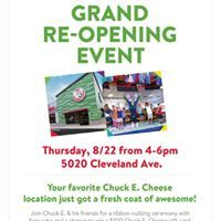 #SWFL locals dont miss the @ChuckECheese grand re-opening tomorrow, August 22 from 4-6pm . There will be prizes and special deals. More information here > facebook.com/events/2268204… #ad