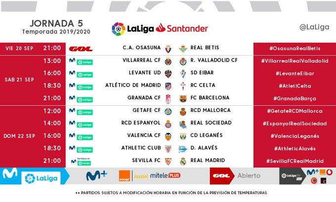 Calendario Liga Santander 2019 20 Betis.Horarios Y Fechas De La Jornada 5 6 Y 7de Laliga Santander