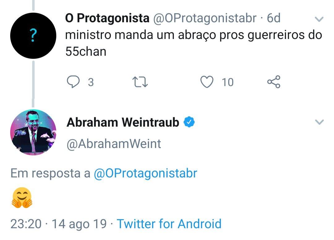Por que o ministro @AbrahamWeint está mandando abraço para o 55 chan, celeiro do atirador de Suzano?