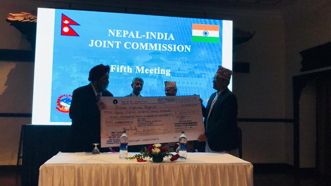 Kathmandu: A cheque of ₹80.71 crore was handed over in presence of EAM Subrahmanyam Jaishankar & his counterpart Pradeep Kumar Gyawali, as part of Government of India's commitment of ₹500 crore towards strengthening road infrastructure in the Terai region of Nepal.