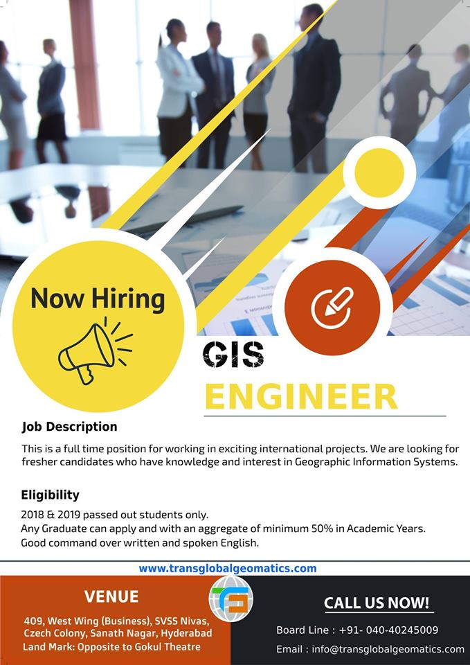 Currently, we are #hiring #Freshers, #Graduates, #GraduateFresher. We have a #WALKINDrive for the #GIS #Engineer. Freshers can apply for this #Position #Company #TransGlobalGeomaticsPvtLtd @transglobalgeomatics  Reach Us At https://bit.ly/2N0755xpic.twitter.com/eXJvUcdpxx