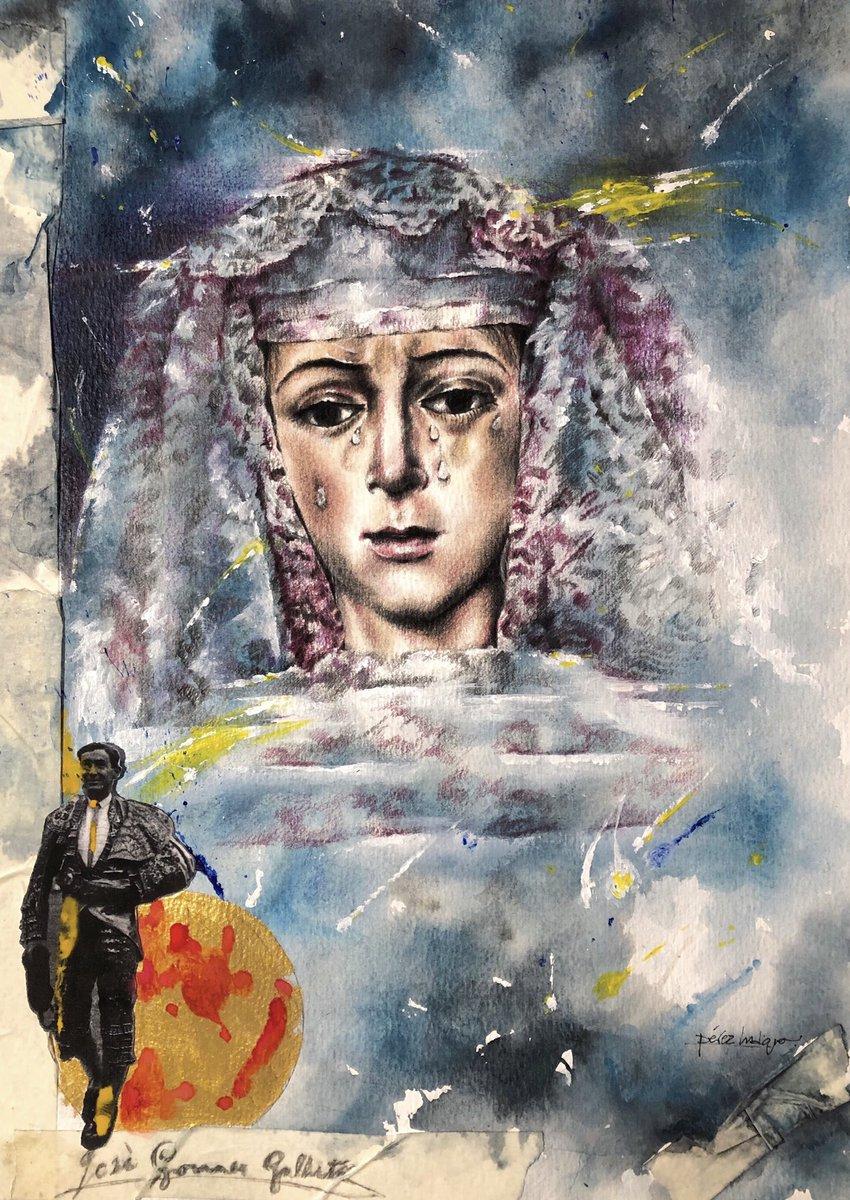 LA MACARENA DE JOSÉÚltima obra de @perezindiano basada en una antigua fotografía de la #Esperanza @Hdad_Macarena en blanco y negro, del archivo de David Medina y en la que podemos ver, cómo podría ser el rostro de La Virgen en aquella época, junto a Joselito el Gallo.