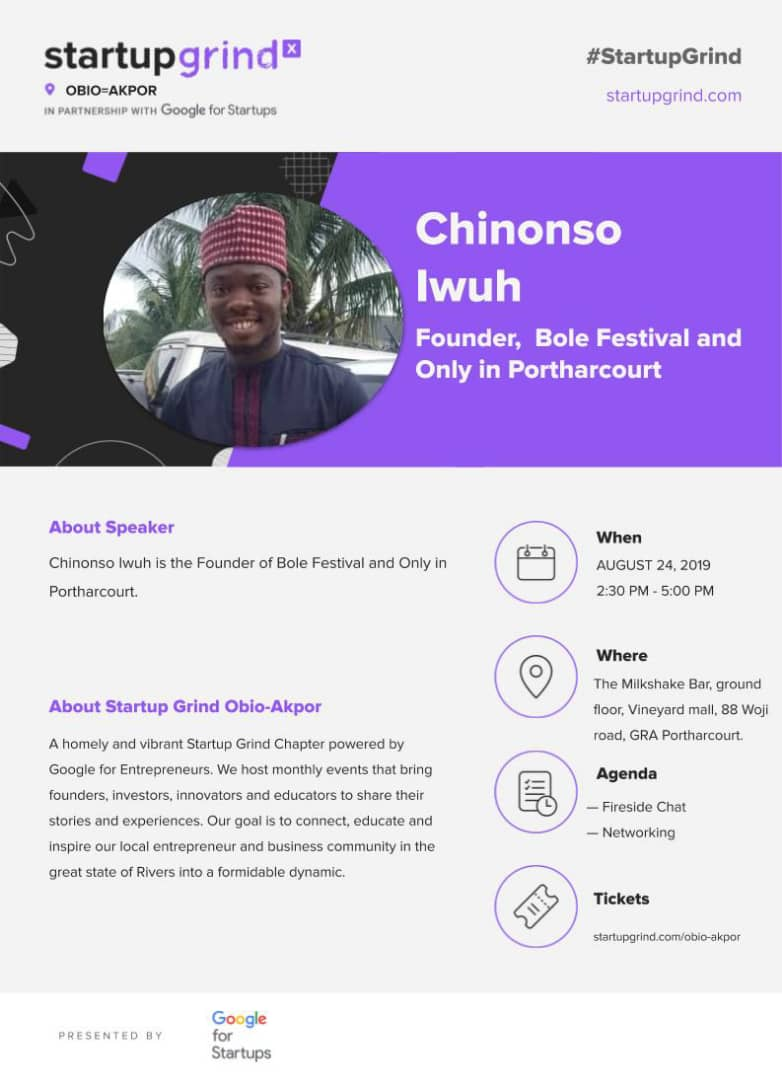 This month we at Startup Grind Obio-Akpor @StartUpGrindOb1 have the pleasure of hosting the brilliant Nonso Iwuh, CEO of Bole Festival @BoleFestival. #startups #SMEs<br>http://pic.twitter.com/xyDc3shWu8