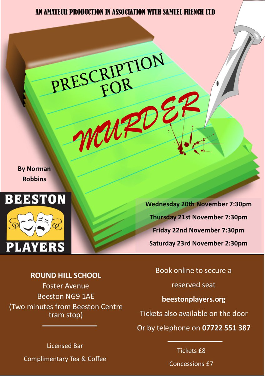 "test Twitter Media - Our November production is ""Prescription for Murder"" by Norman Robbins. Tickets available https://t.co/iwQB84OaZI Cast Details https://t.co/SAC8W8O4hn https://t.co/Dw2RneLhhA"