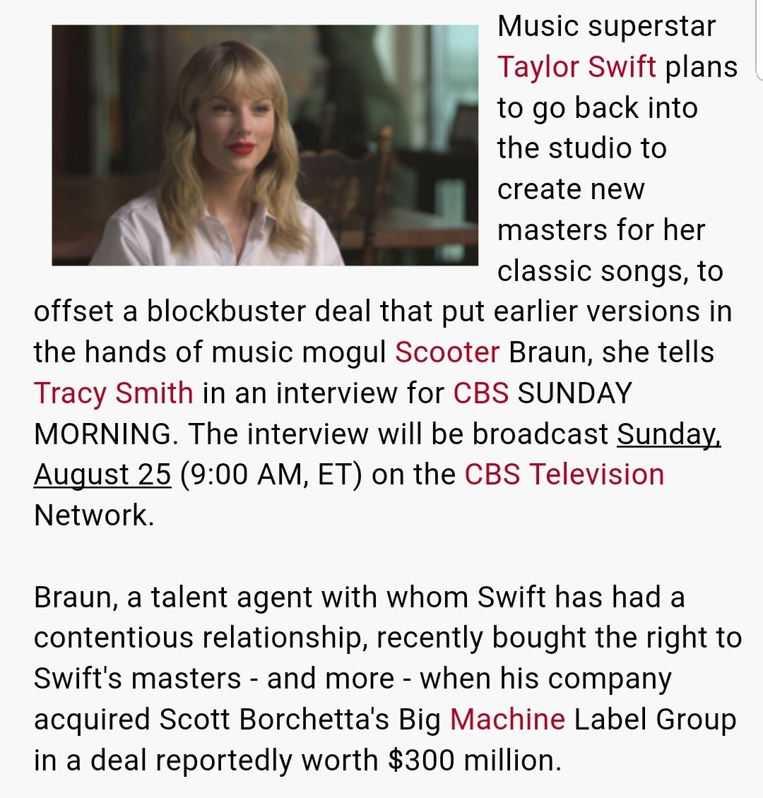 """BREAKING: Taylor Swift plans to re-record new masters for her discography. """"Yeah, absolutely,"""" Swift tells CBS Sunday Morning. This will be a HISTORIC move from Taylor.   @scooterbraun your time is UP!  <br>http://pic.twitter.com/rdWMF6KxkZ"""