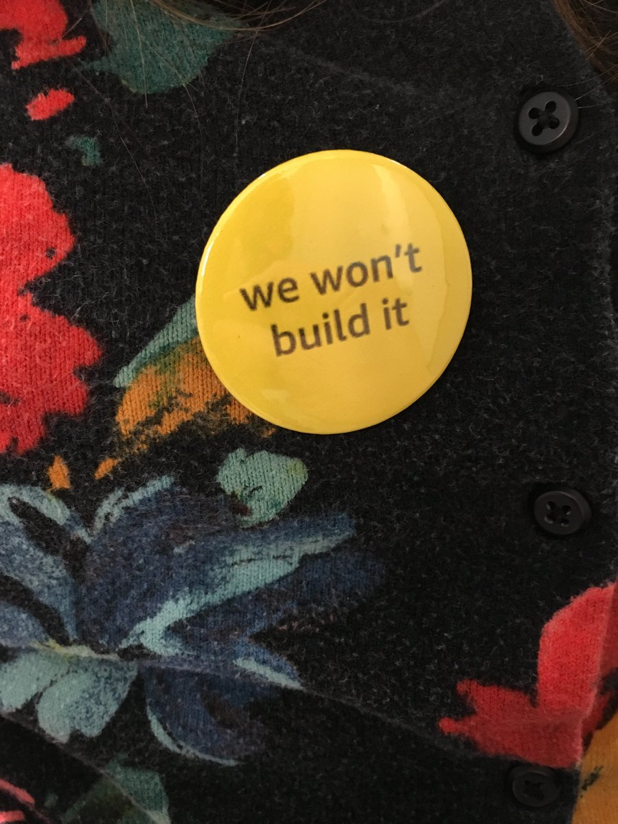 Amazon workers are wearing our #WeWontBuildIt pins today. Proudly wearing mine. Amazon must:  1. Stop sales of surveillance tech to law and gov agencies 2. Stop providing infrastructure to Palantir & others who enable ICE 3. Implement strong transparency measures  @WeWontBuildIt<br>http://pic.twitter.com/HTXGePJMSC