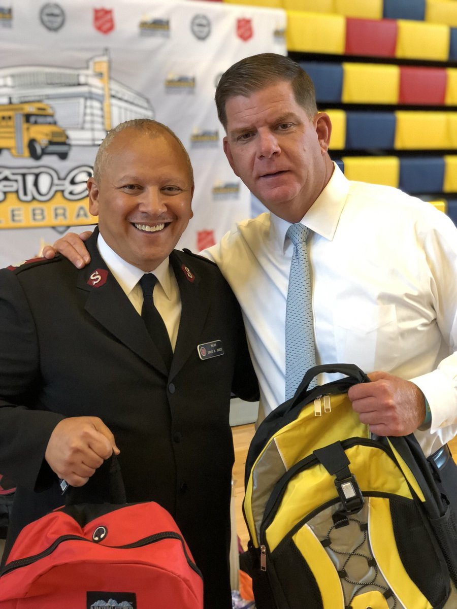 Better together! Thanks Mayor @marty_walsh for stopping by The #SalvationArmy @KrocBoston to stuff backpacks today for tomorrow's Back-to-School Celebration with @tdgarden @CityOfBoston #B2SBoston #Boston