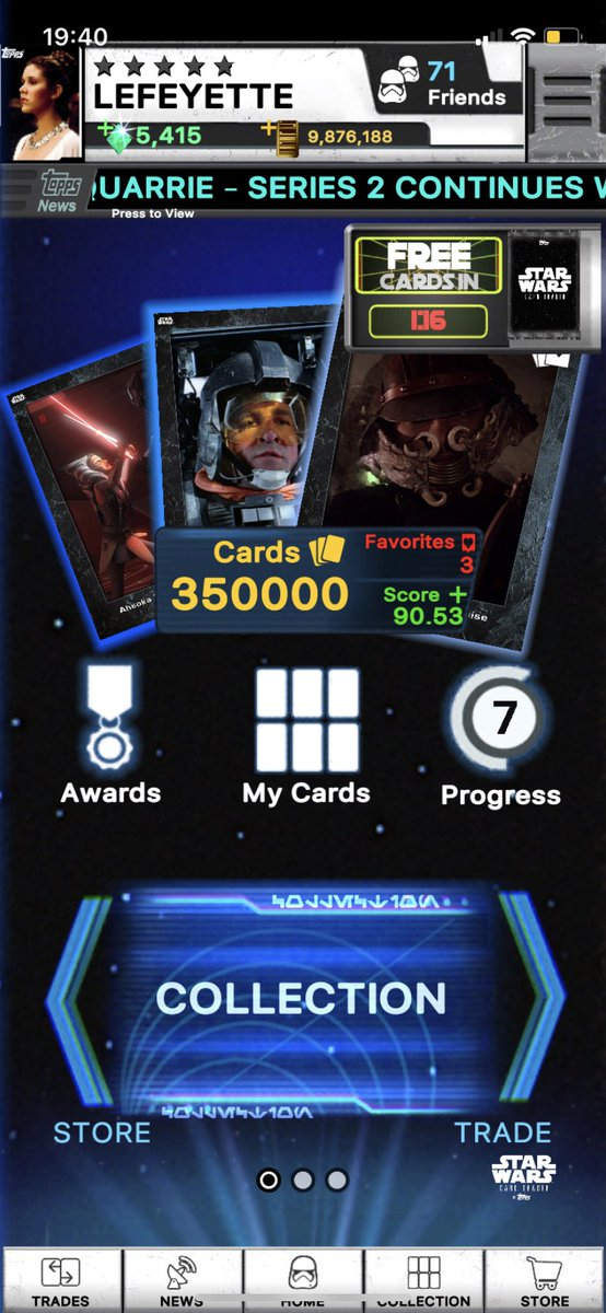 Woop 350,000 cards in @ToppsSWCT (for the next minute anyway!)