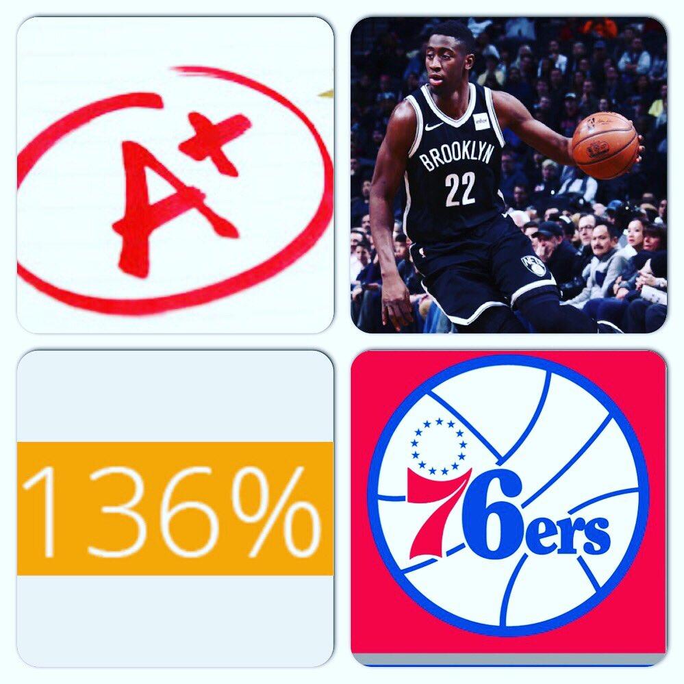 #NBA Playoffs  Date: 4/18/19 Score: #76ers 131 - #Nets 116  Tm: #BrooklynNets  Pl: #CarisLeVert  Pos: SG  Ht: 6'7  Wt: 204 lbs  College: #Michigan  PGG: 136% = A+  Vs:  #Philadelphia76ers  @NBA  #Basketball  (Seeking Sponsorship)  (Seeking Sponsorship/YOUR AD HERE)   - Marlawn https://t.co/fL7EtxpTfx