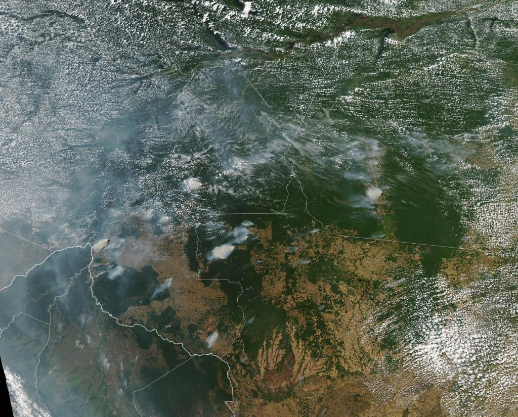 In the #AmazonRainforest, fire season has arrived. The MODIS instrument on NASA's Aqua satellite captured this images of several fires burning in the Brazilian states of Rondônia, Amazonas, Pará, and Mato Grosso on August 11, 2019.