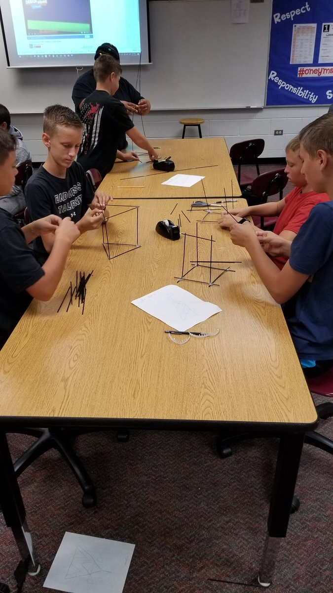 Marshmallow towers under construction. The Engineering Design Process in action. #OneYMS<br>http://pic.twitter.com/pjZhlAgVP9