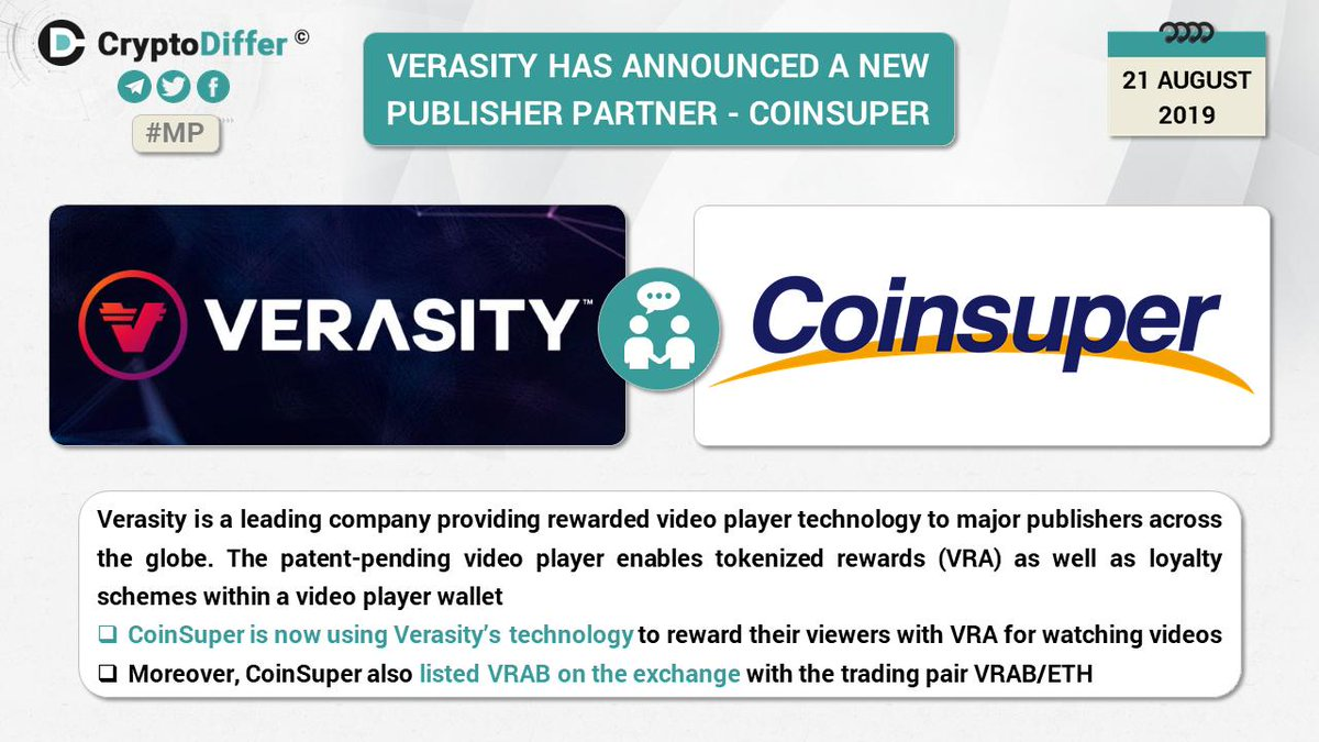 As a Hong Kong Exchange with fiat channels(USD & HKD) and a BEP-2's ecological partner, Coinsuper strongly recognize @verasitytech 's performance in the market and Coinsuper will continue to support quality projects within the @binance  #DEX ecosystem! @cz_binance